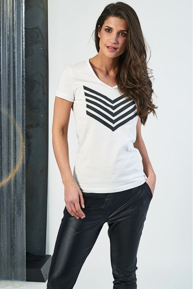 HAILEY top coton chevron noir