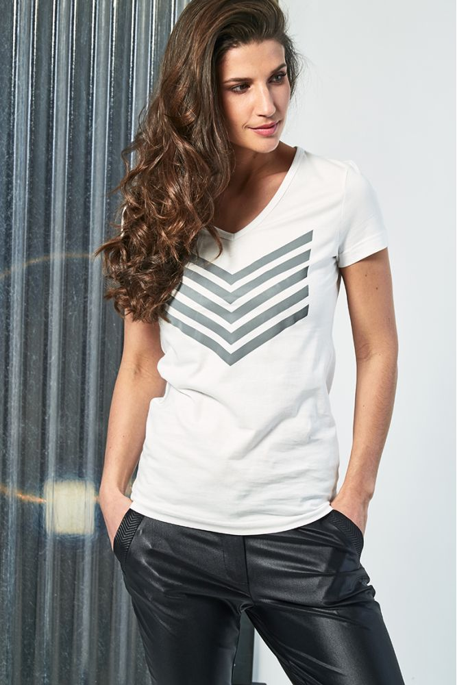 HAILEY top coton chevron argent