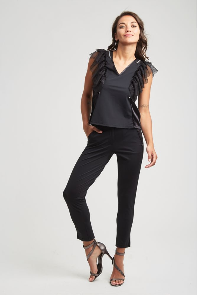 GLAM - CHRISTINA Pantalon noir mat/satin