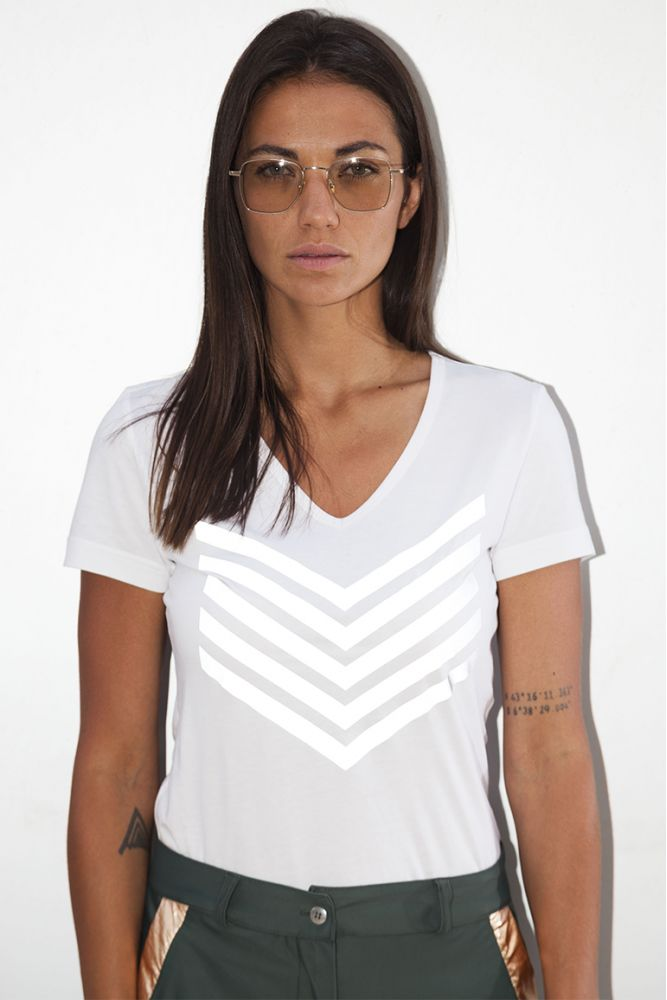HAILEY - T-shirt chevrons Blanc